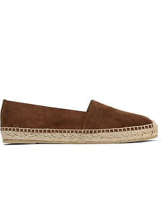 Saint Laurent Logo-embroidered Suede Espadrilles - Brown
