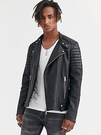 Allsaints Chaqueta biker de cuero en negro Jasper de AllSaints