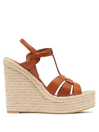 c38450489078 Saint Laurent Tribute Leather Wedge Espadrilles - Womens - Tan