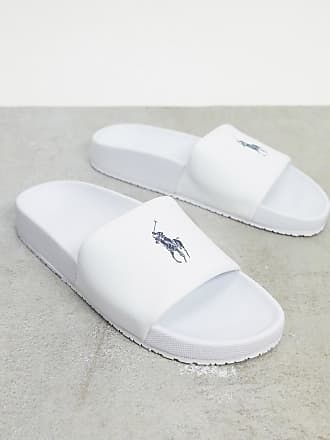 Polo Ralph Lauren slider in white with navy logo