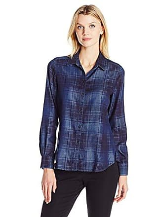 Foxcroft Womens Long Sleeve Tartan Denim Tencel Shirt, Indigo, 10