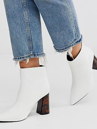 Z_Code_Z Exclusive Nura vegan heeled ankle boots in white tortoishell