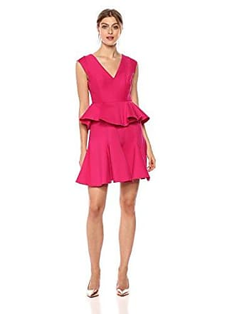 Halston Heritage Womens Cap Sleeve V Neck Dress with Peplum, Cerise 6