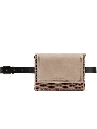 Wicker Wings Tao Rattan, Suede And Leather Belt Bag - Neutral