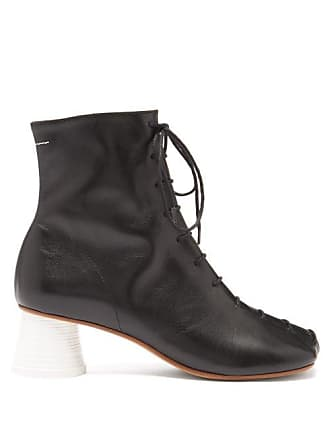 Maison Margiela Mm6 Maison Margiela - Lace Up Leather Ankle Boots - Womens - Black