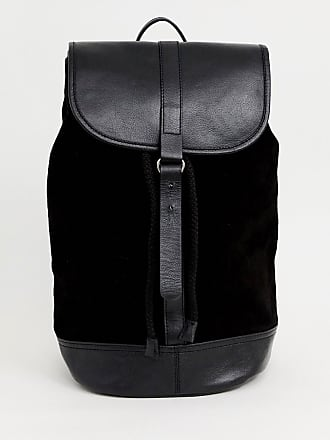 8a1561eb0418e Asos Rucksack aus schwarzem Leder und Wildleder - Schwarz