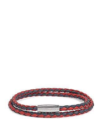 BOSS Italian-made bracelet in two-colored braided calf leather