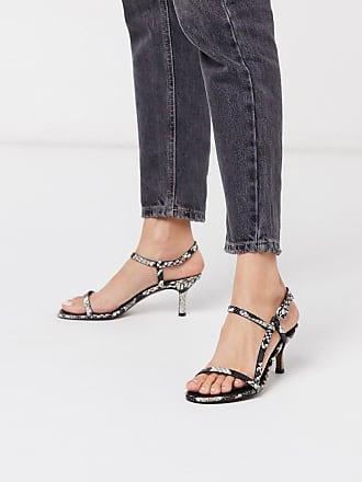 Whistles milana asymmetric leather kitten heel sandal in snake-Multi