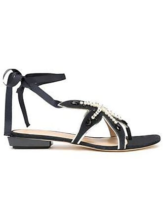 dc07a70fb59a60 Tory Burch Tory Burch Woman Embellished Leather Sandals Navy Size 10.5