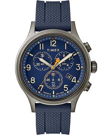 Timex Watch Mens Allied Chronograph 42MM Silicone Strap Gray/Blue Item Tw2R60300Vq