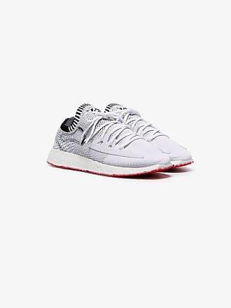 Yohji Yamamoto white Raito Racer knitted upper leather trim low top sneakers