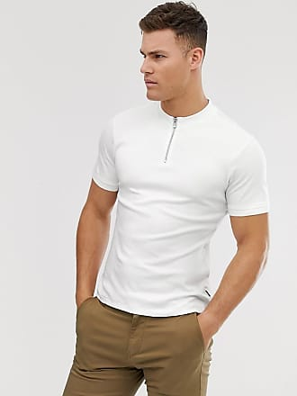Jack & Jones Polo blanco con cremallera y cuello henley Premium de Jack & Jones