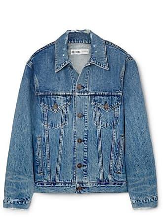Re/Done Oversized Distressed Denim Jacket - Mid denim