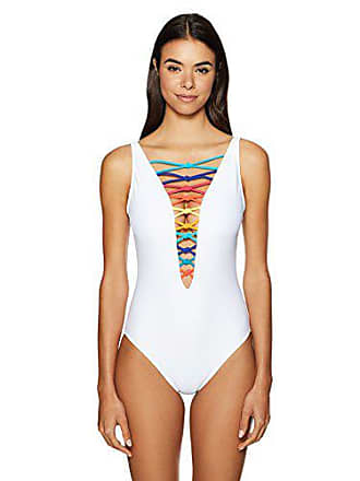 80497fe3d7 Bleu Rod Beattie Womens Knotty But Nice Lace Down Mio One-Piece Swimsuit,  White