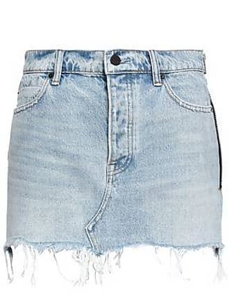 Alexander Wang Alexander Wang Woman Frayed Denim Mini Skirt Light Denim Size 27