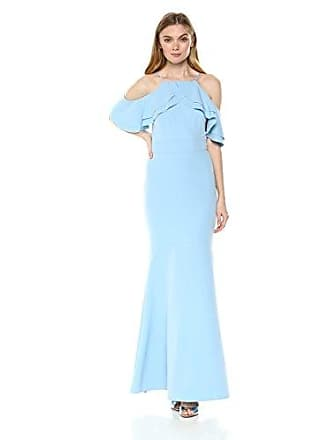 Nicole Miller Womens Ruffle Cold Shoulder Gown, Dusty Blue, 6