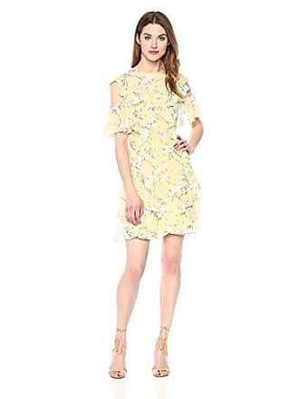 Rebecca Taylor Womens Open Shoulder Lemon Dress, Combo, 4