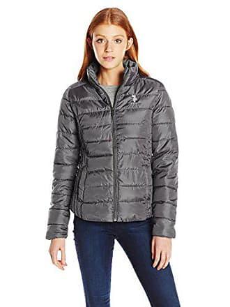 U.S.Polo Association Womens Juniors Puffer Jacket, Gray, XL
