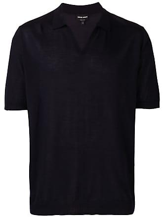 Giorgio Armani Camisa polo com colarinho aberto - Azul