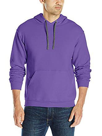 Fruit Of The Loom Mens Hooded Sweatshirt,Purple,Small