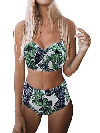a97a6d2d219 NPRADLA Plus Size 2 Piece Bikini Womens Padded Push-up Bra Bandage Bandaue  Hight Waist