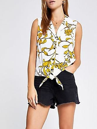 River Island Womens White floral tie front shirt