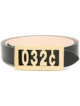032c logo plaque belt - Black