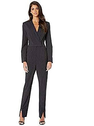 Bcbgmaxazria Womens Faux Wrap Pinstripe Jumpsuit, Pacific Blue Combo, S