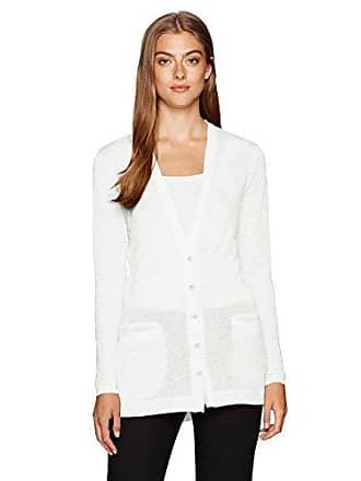 Jones New York Womens L/SLV V-nk Bf Style Cardigan, White XL