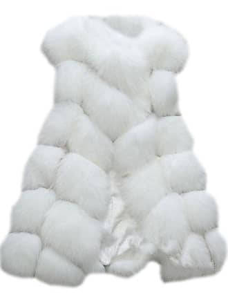 ZongSen Womens Faux Fur Vest Gilets Coat Jacket Sleeveless Long Waistcoat White XL
