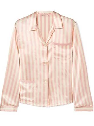 Morgan Lane Ruthie Striped Silk-charmeuse Pajama Shirt - Blush 7c142467d