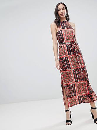 3237be8d7374 Asos Vestito lungo estivo con stampa foulard e cintura - Multicolore