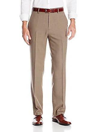 Haggar Mens Grid Fancy Straight Fit Dress Pant, Medium Taupe, 34x34