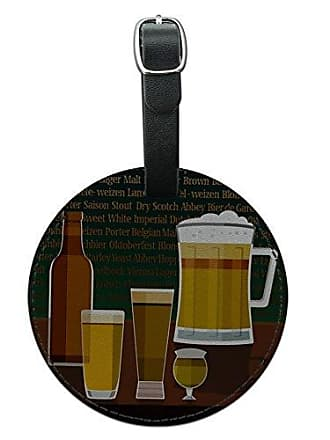 Graphics & More Graphics & More Beer Glasses Ale Pilsner Stout Lager Round Leather Luggage Id Tag Suitcase, Black