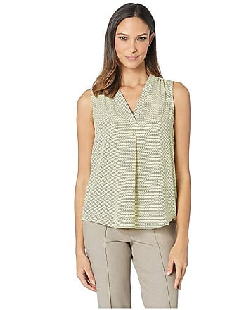 a758bca0ee32c1 Vince Camuto Sleeveless V-Neck Linear Motion Blouse (Blazing Yellow) Womens  Blouse