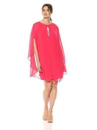 S.L. Fashions Womens Two Piece Caplet with Rhinestone Beaded Sleeveless Dress, Cerise, 12