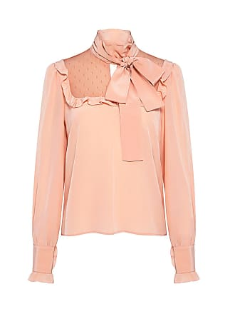 Red Valentino Ruffle Lace Tie-Neck Blouse Peach_377