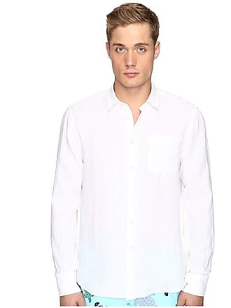 Vilebrequin Linen Long Sleeve Button Up (White) Mens Swimwear