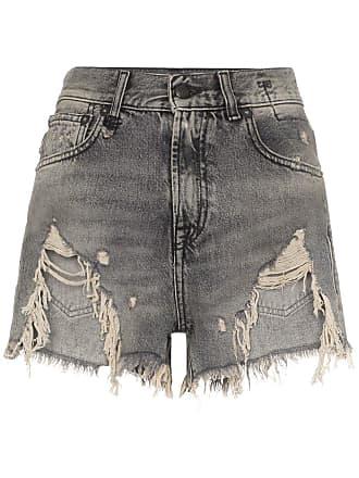 R13 shredded ripped hem denim shorts - Black
