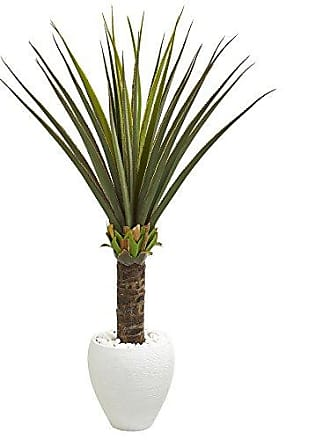 Nearly Natural 8125 Agave Artificial White Planter Silk Plants Green