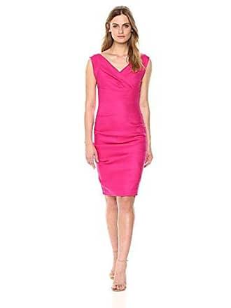Nicole Miller Womens Andrea Stretch Linen Dress, Shock rosa, 12