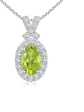 Angara Valentine Day Sale - Vintage Style Peridot Pendant with Diamond Halo