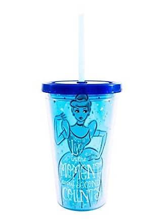 Disney Silver Buffalo DN32087Q Disneys Princess Cinderella Plastic Cold Cup with Reusable Glass Slipper Ice Cubes, 16 oz, Multicolor