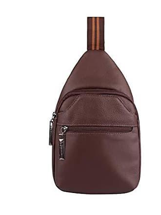 Vira Vento Mini mochila transversal de couro masculina Jeff pinhão