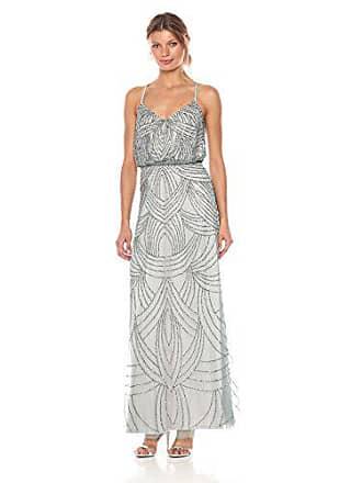 a457961cd3c3 Adrianna Papell Womens Spaghetti Strap Beaded Blouson Gown, Slate, 12