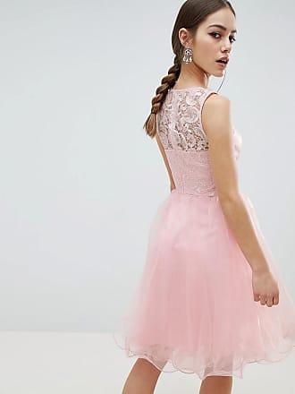 108a43b08e Chi Chi London Petite Midi Tulle Prom Dress with Premium Lace Bodice - Pink