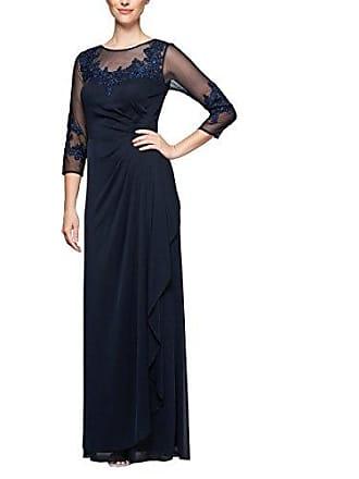 Alex Evenings Womens Long A-Line Sweetheart Neck Dress (Petite and Regular Sizes), Navy, 16
