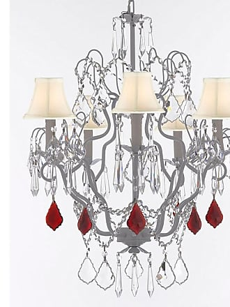 Gallery T22-2656 5 Light 21 Wide Crystal Chandelier with Fabric