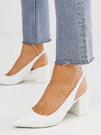 Asos Zapatos blancos de tacón medio de corte ancho con correa trasera Samson de ASOS DESIGN