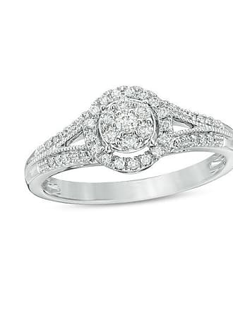 Zales 1/4 CT. T.w. Composite Diamond Frame Vintage-Style Engagement Ring in 10K White Gold